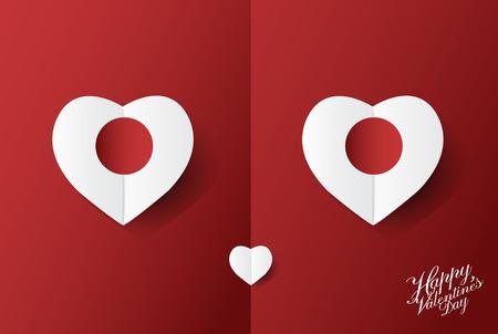 Fond de vecteur mignon Valentin avec Smiley face coeur art papier design; illustration. Banque d'images - 94104824