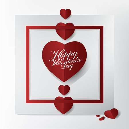 Conception de carte et de typographie moderne Saint Valentin, style mini papier coeur rouge coupe sur fond de cadre, illustration concept.vector de carte heureuse et belle. Banque d'images - 94118486