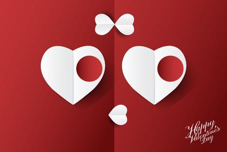 Fond de vecteur mignon Valentin avec conception d'art de papier Lady Smiley visage coeur; illustration. Banque d'images - 94118489