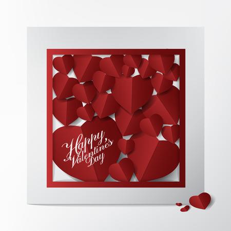 Carte de voeux de style mariage moderne avec une conception de typographie Happy Valentines Day et un papier abstrait coeur rouge coupé sur fond blanc; Affaires et belle carte illustration de concept.vector. Banque d'images - 94118498