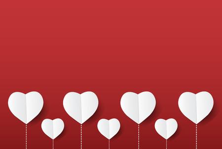 Fleur d'amour moderne coeurs sur fond rouge, conception du concept de la Saint-Valentin avec espace et texte en vente, illustration vectorielle. Banque d'images - 94118500