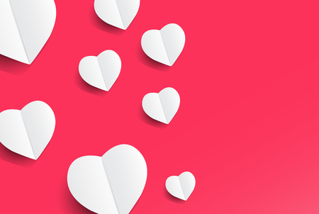 Cute hearts on pink background,Valentines day concept design with space and text in put,vector illustration. Иллюстрация