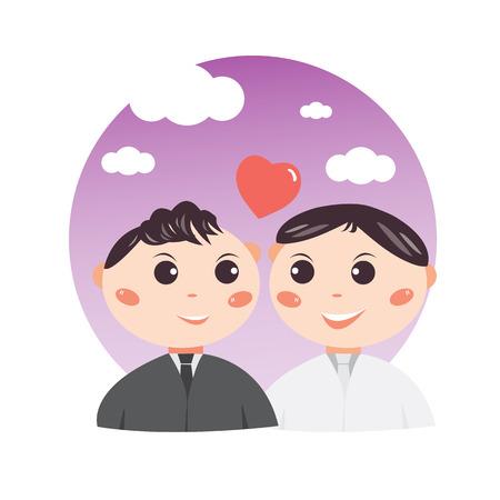 Conception de personnage de mariage mignon couple gay dessin animé, concept doux et romantique, illustration vectorielle. Banque d'images - 98722994