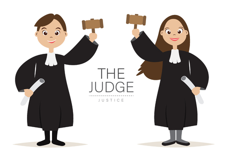 The Judge Cartoon Character design with Hold the hammer for Judge and Justice,vector,illustration.