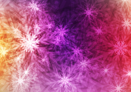 Abstract Galaxy Shiny flakes or Crystal on colorful background; Winter and christmas day concept; design for Wallpaper and other; with space and text input; Vector; Illustration.
