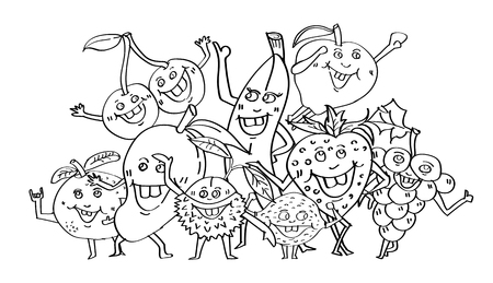 Cute fruits hand drawn,cartoon character doodle style,coloring book page and Party concept,design For adults and children,vector,illustration