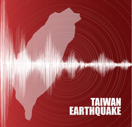 Taiwan Earthquake Wave with Circle Vibration on Red background,audio wave diagram concept,design for education,science and news,Vector Illustration.