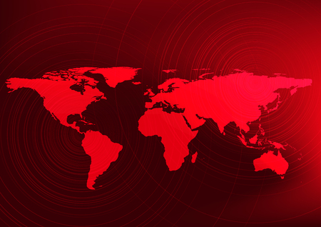 Global warming effect,Warning to people and Red world map concept,design for education and science,vector,illustration.