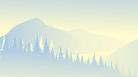 Vector Ice Mountain landscape with Pine Forest,foggy and snow concept design.