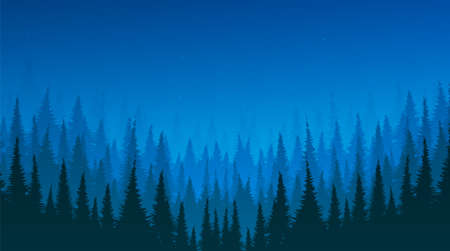 Vector Pine Forest with River,landscape background,foggy and mist concept design. Vettoriali