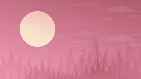 Vector Fullmoon on Pine Forest,landscape background,sunshine and sunrise concept design.