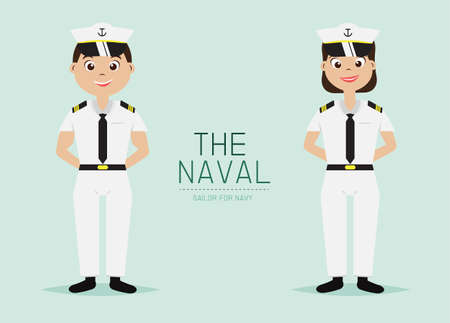 Vector The Pilot Officer with Uniform,Smart style,Cartoon Character design. Vettoriali