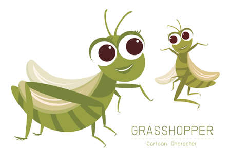 Vector Grasshopper Cartoon Character design Cute style concept. Vettoriali