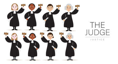 Set of The Judges Cartoon Character White and Dark Skinned Collection Design with Hold the hammer for Judge and Justice.