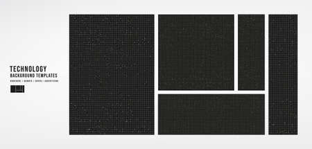 Set of Technology Cover Template on Black Background,banner,brochure and advertising concept,design for Digital marketing Website,Vector