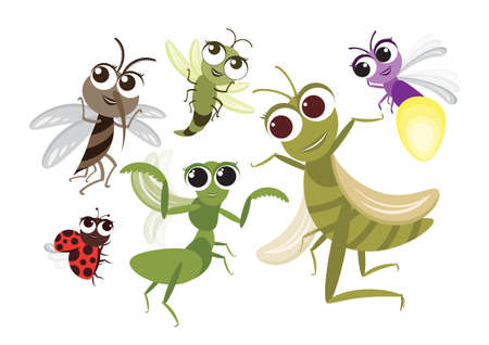 Set of Cute Flying Insects Cartoon Character,Vector insects design,mosquito,Grasshopper,Dragonfly,Mantis,Firefly and Ladybug on White Isolated background. Vettoriali
