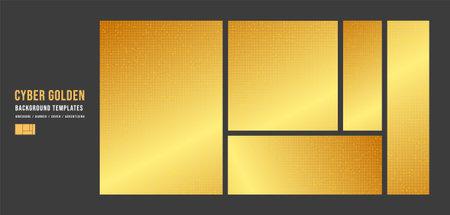 Set of Golden Technology Template Background,banner,Cover and advertising concept,design for Digital marketing Website,Vector