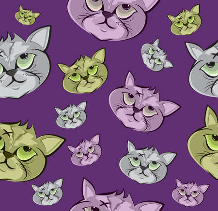 Vector Seamless pattern Crazy cat Cartoon Characterwith star  design Cute style concept.