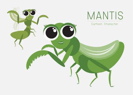 Vector Mantis Cartoon Character design; Cute style concept. Vettoriali