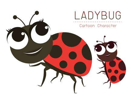Vector Ladybug Cartoon Character design Cute style concept.