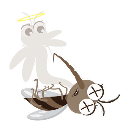 Vector Mosquito Cartoon Character design,Dead and Killed Concept,Cute and Funny style.