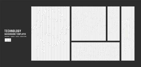 Set of Black and White Technology Template Background,banner,Cover and advertising concept,design for Digital marketing Website,Vector