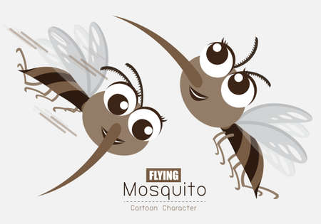 Vector Flying Mosquito Cartoon Character design; Cute style concept.