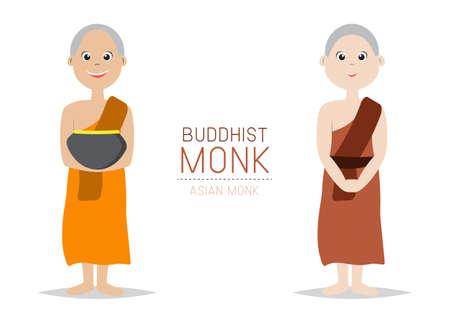 Vector Buddhist Monk Asian style; Cartoon Character design.