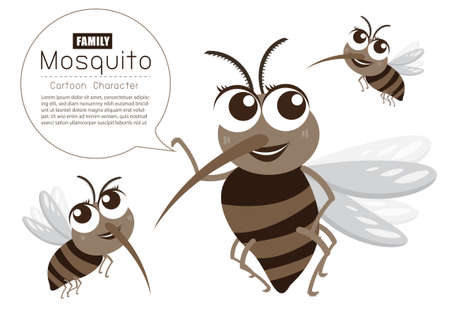 Vector Mosquito Family Cartoon Character design; Cute style concept. Vettoriali