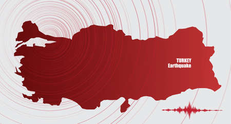 Turkey Earthquake Wave with Circle Vibration,design for education,science and news,Vector Illustration. Vettoriali
