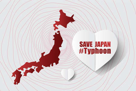 Save for japan Message on Gray background; design for Support and help to people; charity; donate after Typhoon landslide; vector illustration. Vettoriali