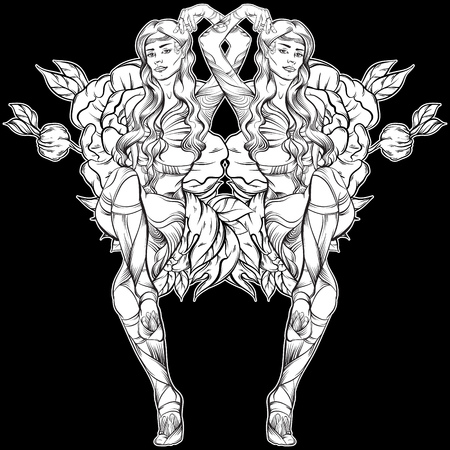 Vector illustration of beautiful elf twins made in hand drawn line realistic style. Ethnic artwork. Tattoo art with flowers. Template for card poster banner and print for t-shirt