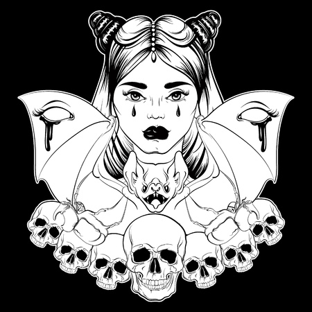 Vector illustration in hand drawn realistic style with skull and bat. Tattoo artwork. Dark fashion sketch.  Template for poster banner card print for t-shirt. Dark fashion artwork Illustration