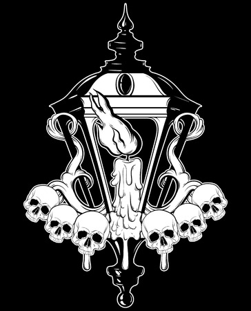 Vector hand drawn  illustration of lantern with melting candle and human skull. Hand sketched artwork with flowers. Tattoo art. Template for card, poster, banner, print for t-shirt, coloring books.