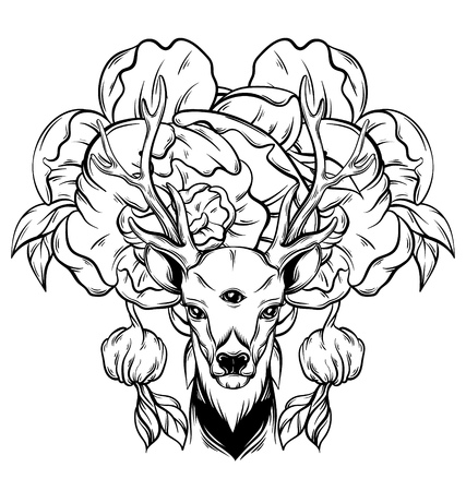occultism: Hand drawn beautiful hand sketched deer. Illustration of deers  portriat with tree eyes. Alchemy, religion, spirituality, occultism, tattoo art, coloring books. Template for card, poster, banner, print for t-shirt. Illustration