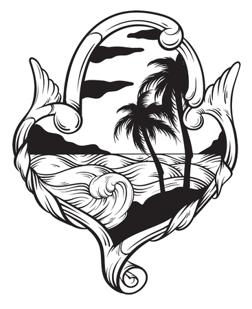 caribbean cruise: Vector hand drawn  illustration of tropical landscape with waves in frame. Hand sketched artwork with flowers. Tattoo art. Template for card, poster, banner, print for t-shirt, coloring books. Illustration