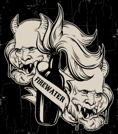 brandy: Vector hand drawn illustration of  Firewater with head of devil. Tattoo artwork. Template for card, poster, label,  banner, print for t-shirt.