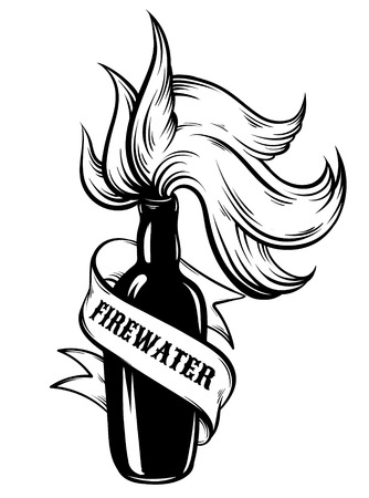 brandy: Vector hand drawn illustration of  Firewater. Tattoo artwork. Template for card, poster, label,  banner, print for t-shirt.