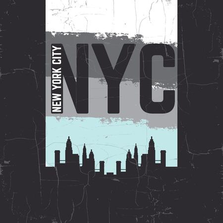 グランジ テクスチャと高層ビルのシルエットのミニマルなスタイルの誤植背景「ニューヨーク ニューヨーク」を引用します。T シャツの印刷カード