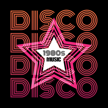 Quote typographical background in minimalistic disco style with star. Colorful template for card, poster, banner, print for t-shirt. Vektoros illusztráció