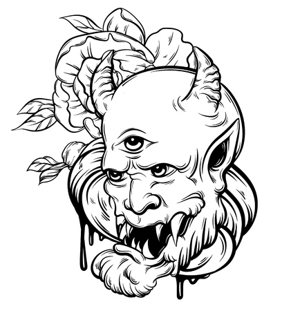 Vector hand drawn illustration of devil. Tattoo hand sketched artwork with realistic flowers. Template for card, poster, banner, print for t-shirt.