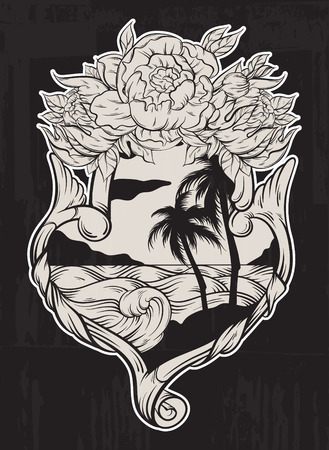 Vector hand drawn  illustration of tropical landscape with waves in frame. Hand sketched artwork with flowers. Tattoo art. Template for card, poster, banner, print for t-shirt, coloring books. 일러스트