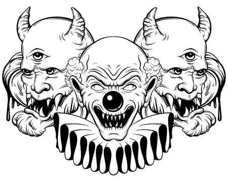 Vector hand drawn illustration of angry clown and daemon. Tattoo artwork in realistic line style. Portrait of ugly clown. Character design. Template for card, poster, banner, print for t-shirt.