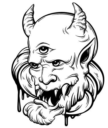 Vector hand drawn illustration of devil. Tattoo hand sketched artwork. Template for card, poster, banner, print for t-shirt.