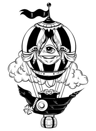 Vector illustration dessinée à la main de ballon à air avec des nuages. Oeuvre de tatouage. Modèle pour carte, affiche, bannière, impression pour t-shirt. Banque d'images - 77617915