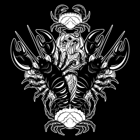 Vector hand drawn  illustration of lobster and crab in realistic style isolated.  Hand sketched artwork with animal. Tattoo art.  Template for card poster banner print for t-shirt. Illustration