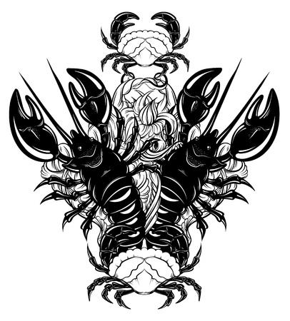 Vector hand getrokken illustratie van kreeft en krab in realistische stijl geïsoleerd. Hand geschetst kunstwerk met dier. Tattoo kunst. Sjabloon voor kaart poster span doek voor t-shirt. Stock Illustratie