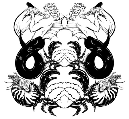 Vector hand drawn illustration of triton , mollusk Nautilus,  crab in realistic line style. Mythology artwork. Tattoo art with symmetric composition. Template for card poster bannerprint for t-shirt.