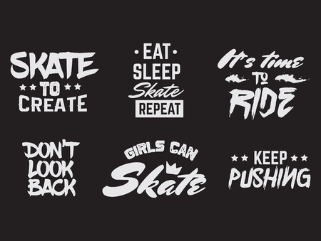 Collection of quote typographical background about skateboard in minimalistic style with grunge vintage fonts. Template for card poster banner print for t-shirt.
