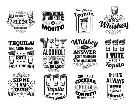 Collezione vettoriale di quote sfondo tipografico su whisky, tequila, cocktail alcolici. Illustrazione disegnata a mano di occhiali. Modello per carta, poster, banner, stampa per t-shirt.
